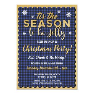 Cartão Natal Tis que a verificação azul do ouro da