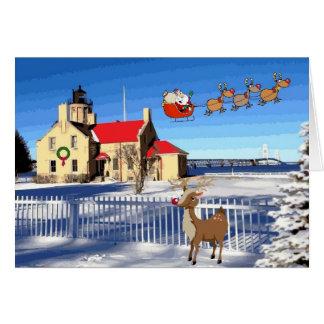 Cartão Natal velho do farol do ponto de Mackinac