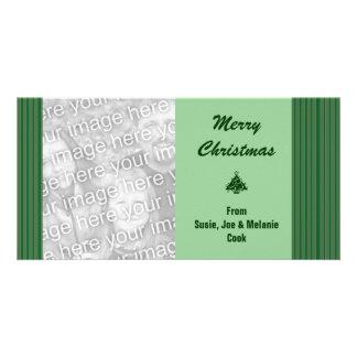 Cartão Natal verde simples da listra
