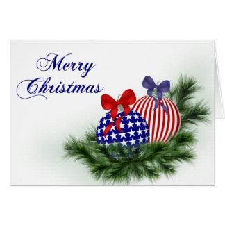 Cartão Natal vermelho, branco & azul