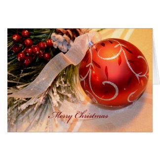 Cartão Natal vermelho do ornamento