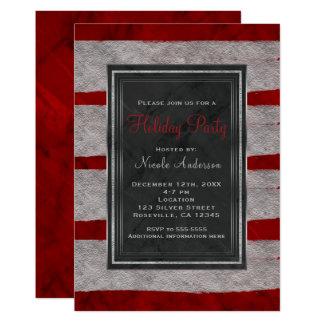 Cartão Natal vermelho moderno do mármore & da prata da