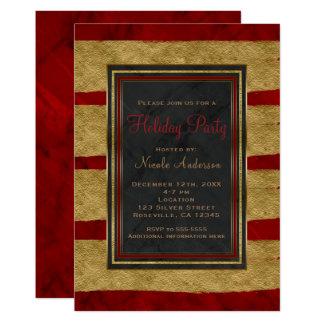 Cartão Natal vermelho moderno do mármore & do ouro da