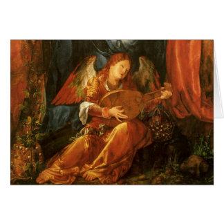 Cartão Natal vintage, anjo do renascimento por Durer