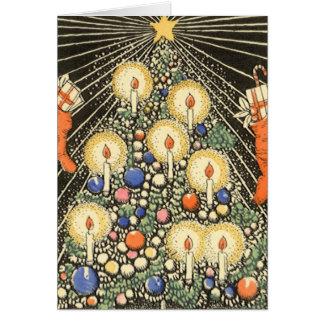 Cartão Natal vintage, árvore com velas e uma estrela