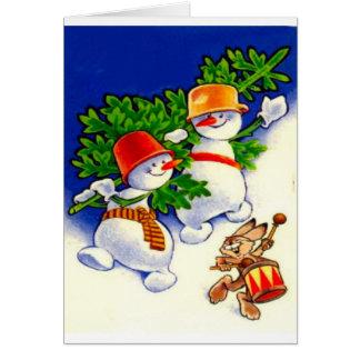 Cartão Natal vintage, banda do boneco de neve