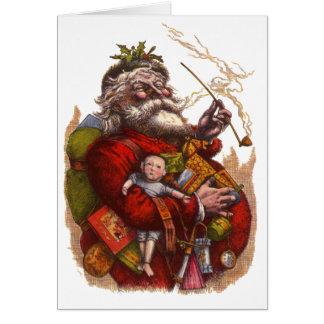 Cartão Natal vintage, brinquedos da tubulação de Papai