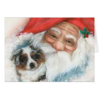 Cartão Natal vintage Card~Santa e filhote de cachorro de