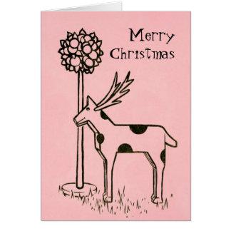 Cartão Natal vintage cor-de-rosa agradado do ~ da rena