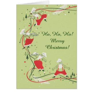 Cartão Natal vintage, cozinheiro chefe de Papai Noel com