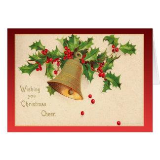 Cartão Natal vintage da réplica, azevinho, bagas, sinos