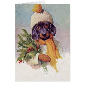 Cartão Natal vintage Dashshund (mensagem para dentro),