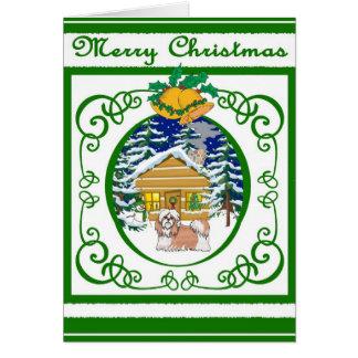Cartão Natal vintage de Shihtzu