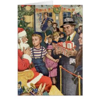 Cartão Natal vintage desejo, menino no regaço de Papai