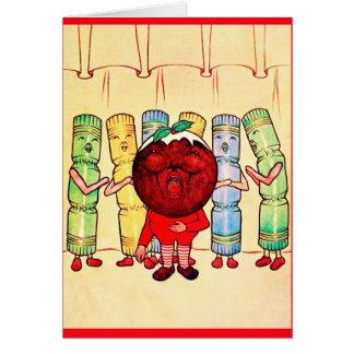 Cartão Natal vintage do ~ do pudim & dos biscoitos do