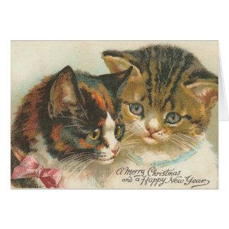 Cartão Natal vintage e gatos do ano novo