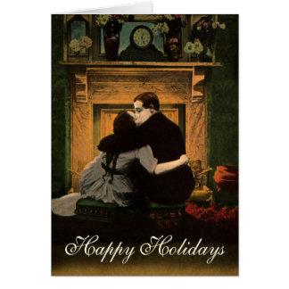 Cartão Natal vintage, lareira do amor e romance