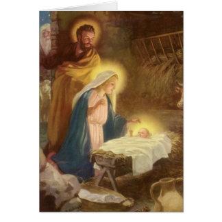 Cartão Natal vintage natividade, bebê Jesus de Mary
