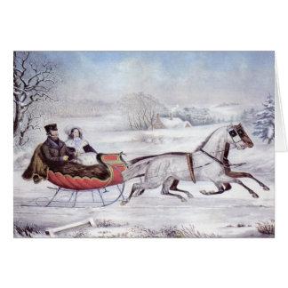 Cartão Natal vintage, o inverno da estrada, cavalo do