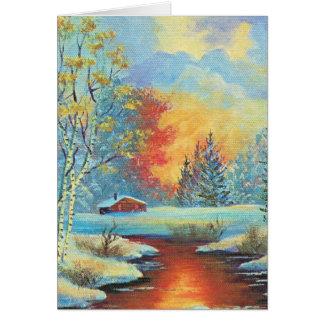 Cartão Natal vintage, paisagem nevado no por do sol