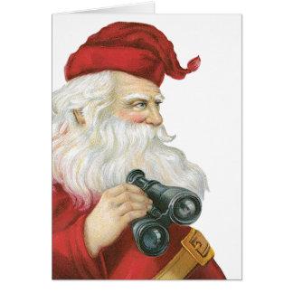 Cartão Natal vintage, Papai Noel com binóculos