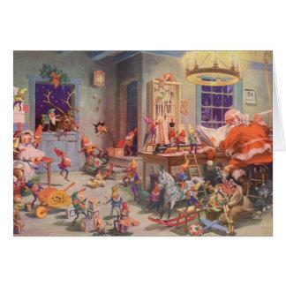 Cartão Natal vintage, Papai Noel com oficina dos duendes
