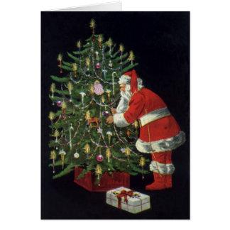 Cartão Natal vintage, Papai Noel com presentes