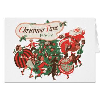 Cartão Natal vintage Papai Noel e crianças da dança
