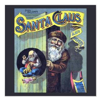 Cartão Natal vintage, Papai Noel e seu livro de trabalhos