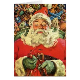 Cartão Natal vintage, Papai Noel no trenó com brinquedos