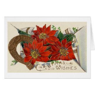 Cartão Natal vintage poinsétia e calçados do cavalo