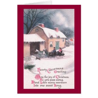 Cartão Natal vintage puxado a cavalo do trenó