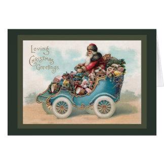 Cartão Natal vintage que cumprimenta - Papai Noel no