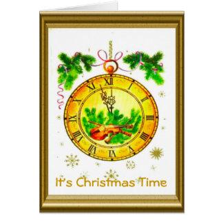 Cartão Natal vintage retro, é tempo do Natal