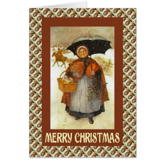 Cartão Natal vintage, senhora com uma cesta dos presentes