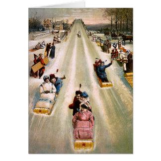 Cartão Natal vintage Sledding do monte do Victorian