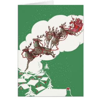 Cartão Natal vintage, trenó alegre do vôo de Papai Noel