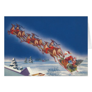 Cartão Natal vintage véspera, Papai Noel no trenó