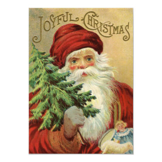 Cartão Natal vintage, Victorian Papai Noel com árvore