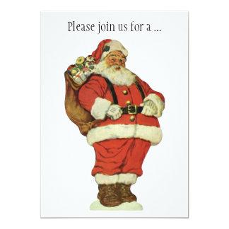 Cartão Natal vintage, Victorian Papai Noel com brinquedos