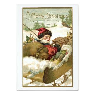 Cartão Natal vintage, Victorian Papai Noel no trenó