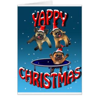 Cartão Natal yappy dos pugs trampolining