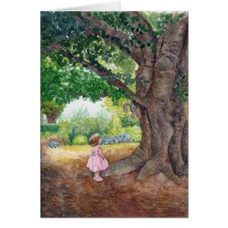Cartão Nathalie na árvore de faia velha