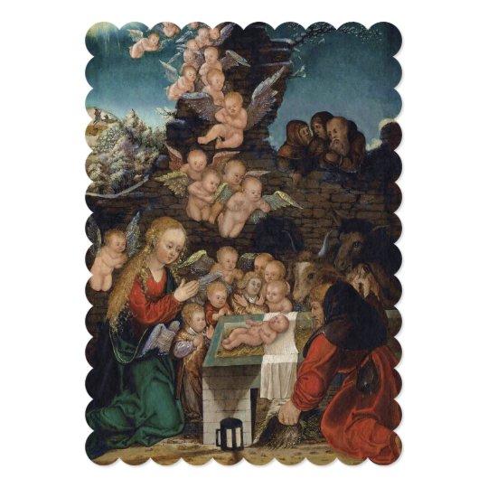 Cartão Natividade que caracteriza querubins