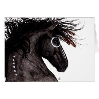 Cartão Nativo americano majestoso do cavalo do frisão por