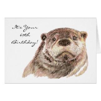 Cartão Natureza bonito da lontra do 69th aniversário
