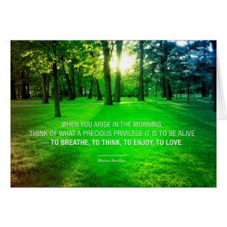 Cartão Natureza inspirada das citações da vida de Marcus