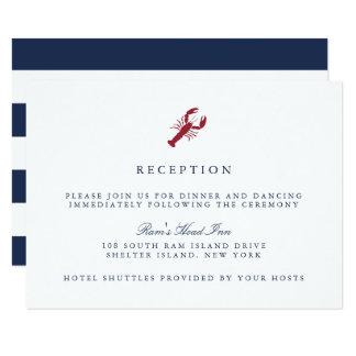 Cartão náutico da recepção de casamento da lagosta