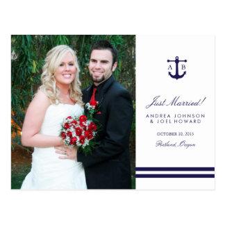 Cartão náutico do anúncio do casamento da foto do