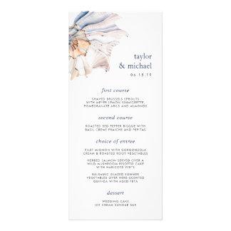Cartão náutico do menu do casamento do Seashell do